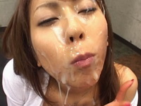 Horny asian enjoys bukkake